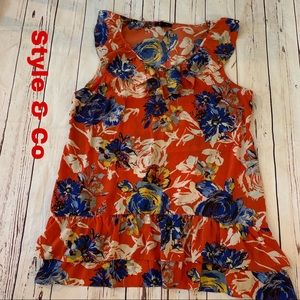 Style & Co XL X-Large red floral tunic top